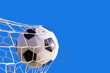 soccer ball hit the net,success goal concept