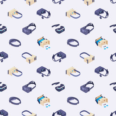Seamless pattern with the virtual reality headsets