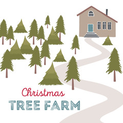 Christmas tree farm vector illustration.