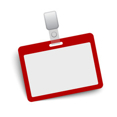 Red blank vector name tag isolated on white background