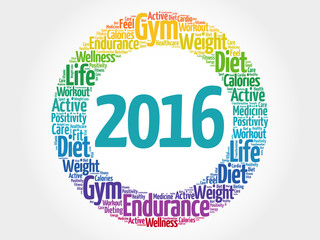 2016 circle word cloud, health concept background
