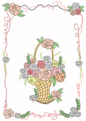 Card with basket of flowers in cartoon style.