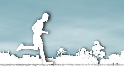 Cutout illustration of a jogger running through an urban park