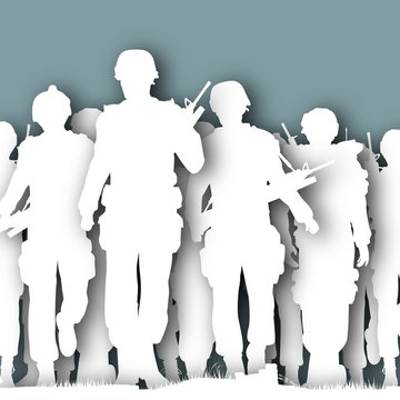 Illustrated cutout silhouettes of armed soldiers walking together
