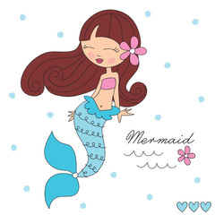 beauty of the sea mermaid vector illustration