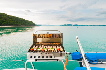 Barbecue grill on the boat. Luxury boat party in Phuket, Thaialn