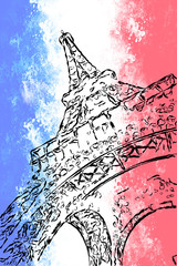 Eiffel tower on grange background in the colors of the French fl