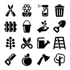 Gardening Icons Set on White Background. Vector
