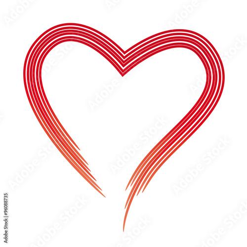 Rotes Herz aus feinen Linien, Symbol der Liebe\