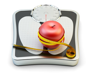 Diet, healthy eating, slimming and weight loss concept, measuring tape wrapped around fresh red apple on bathroom scales isolated on white