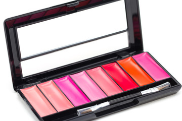 makeup cosmetics collection - lipstick, palette,