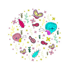 Hand drawn seamless pattern with insects.