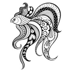 Zentangle vector Gold Fish for tattoo in boho, hipster style. Or