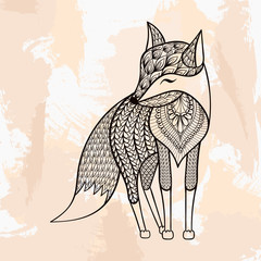 Zentangle vector Fox, tattoo in hipster style. Ornamental tribal