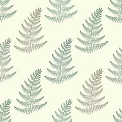 Zentangle vector green Fern seamless pattern. Ornamental tribal