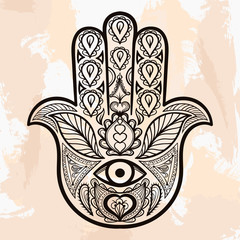Zentangle vector Hamsa Hand, tattoo in boho style, religion spir