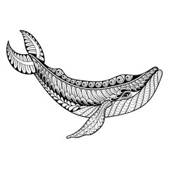 Zentangle vector Whale for adult anti stress coloring pages.