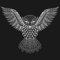 Zentangle vector white Owl for adult anti stress coloring pages.