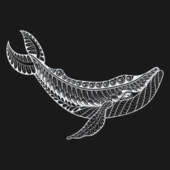Zentangle vector white Whale for adult anti stress coloring page