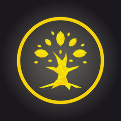 low poly legal company or insurance agency as a golden tree with lush foliage of leaves. Gold tree logo