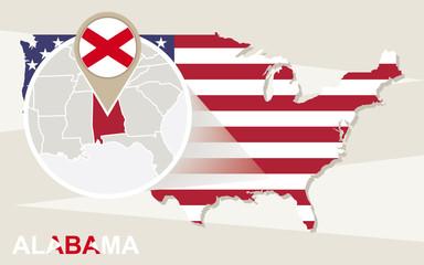 USA map with magnified Alabama State. Alabama flag and map.