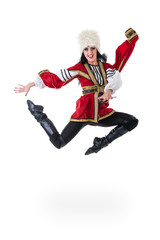 Young woman wearing a folk costumes jumping.  Isolated on white in full length with copyspace
