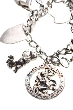antique st. christopher medal charm on bracelet