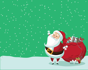Cute Santa Claus standing in the snow with a bag of gifts. With space for your copy. Royalty free illustration.