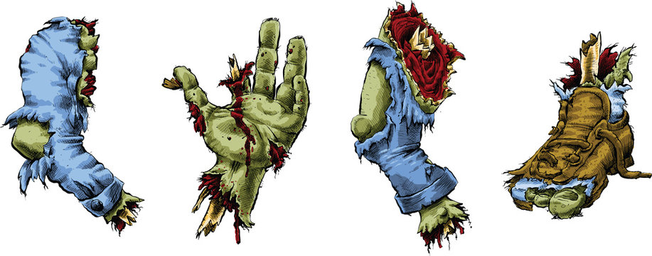 Cartoon illustration of dismembered zombie body parts including an arm, hand, leg and foot.