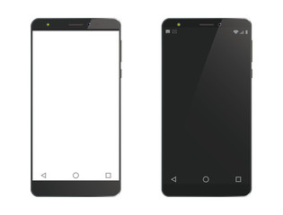 Two vector cell phones on white background.
