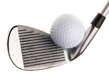 Foto op Aluminium Golf golf club and ball isolated on white