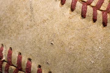 softball with red stitching