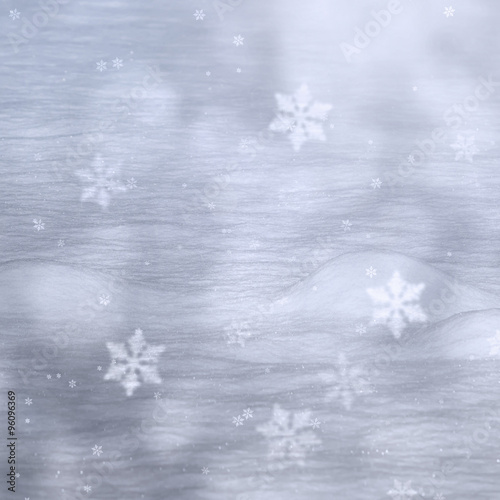 magical silver color snow background with added snowflakes lovely christmas and new year holiday background