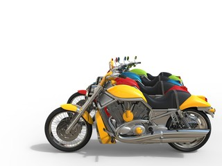 Colorful vintage motorcycles - side view