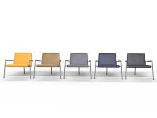 Pastel colored armchairs - front view