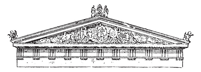 Acroterion, pediment of the temple of Aegina, vintage engraving.
