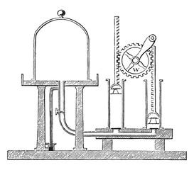 Air pump, vintage engraving.
