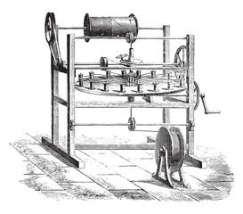 Weaving cover, vintage engraving.