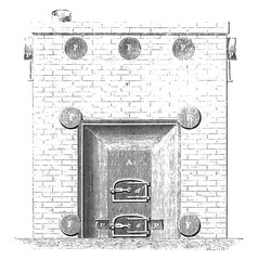 Front view of the basement furnace, vintage engraving.