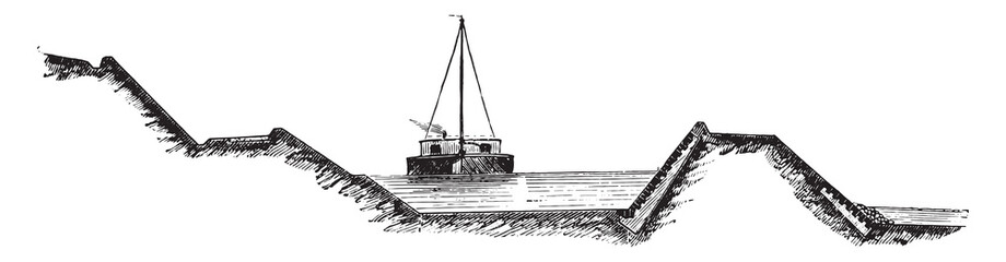 Channel cross-section of the coal of the Saar, vintage engraving