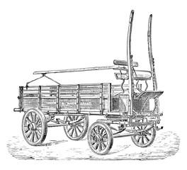 Truck, vintage engraving.