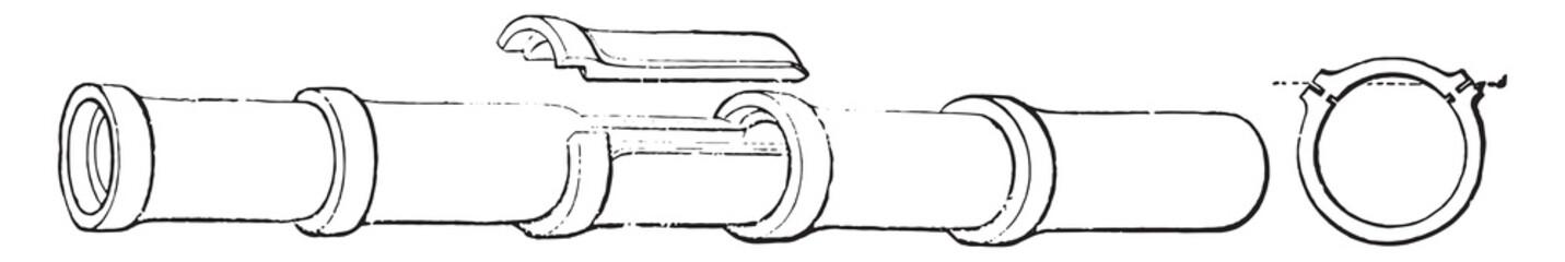 Stoneware pipe, vintage engraving.