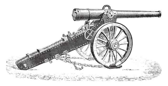 Canon 155mm mountain 1877 model, vintage engraving.