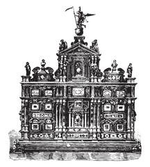 Italian cabinet furniture, ebony, inlaid mosaic Florence (sixtee