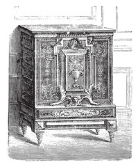 Furniture breast high inlaid ebony, Charles Boulle Louvre, vinta
