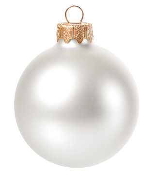 beautiful white christmas ball isolated on white background