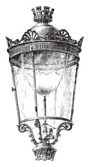 Lantern with intensive gas nozzle for lighting the streets of Pa