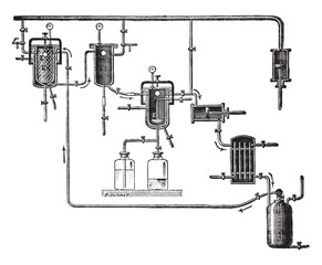 Apparatus for extracting perfumes, vintage engraving.