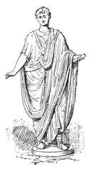 Roman toga, vintage engraving.