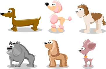 Cartoon set of cute dogs